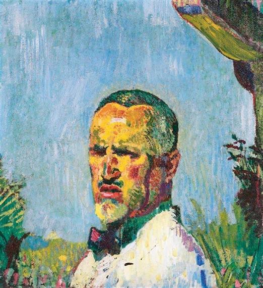 Selbstbildnis vor Garten, 1921 - Cuno Amiet