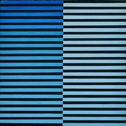 Ricerca del colore azzurro su nero, 1968 - Dadamaino