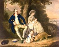 Charles Watson, Esq., and His Wife, Lady Mary, with Their Two Children, James and Anne in a Landscape - David Allan