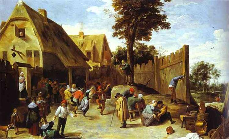 Peasants Dancing Outside an Inn - David Teniers the Younger