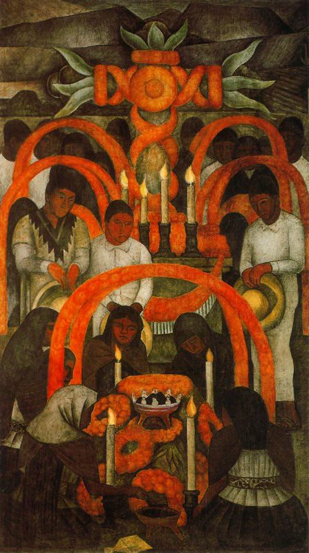 The sacrificial offering day of the dead diego rivera for Diego rivera day of the dead mural