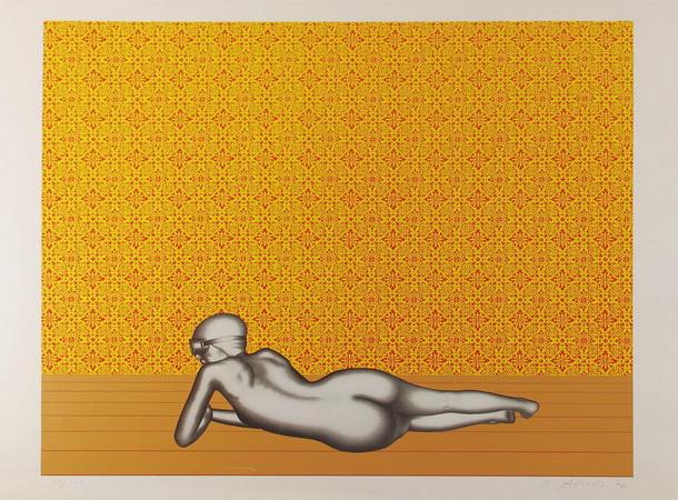 Liegende II vor Tapete, 1970 - Dieter Asmus
