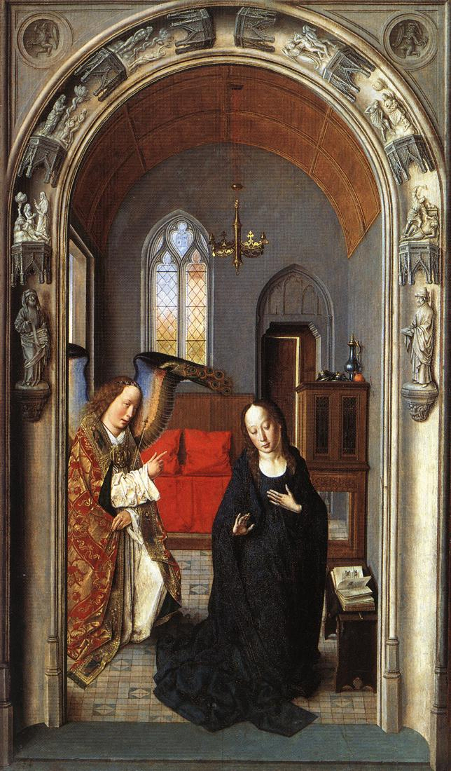 The Annunciation ((Polyptych of the Virgin, the wing), 1445