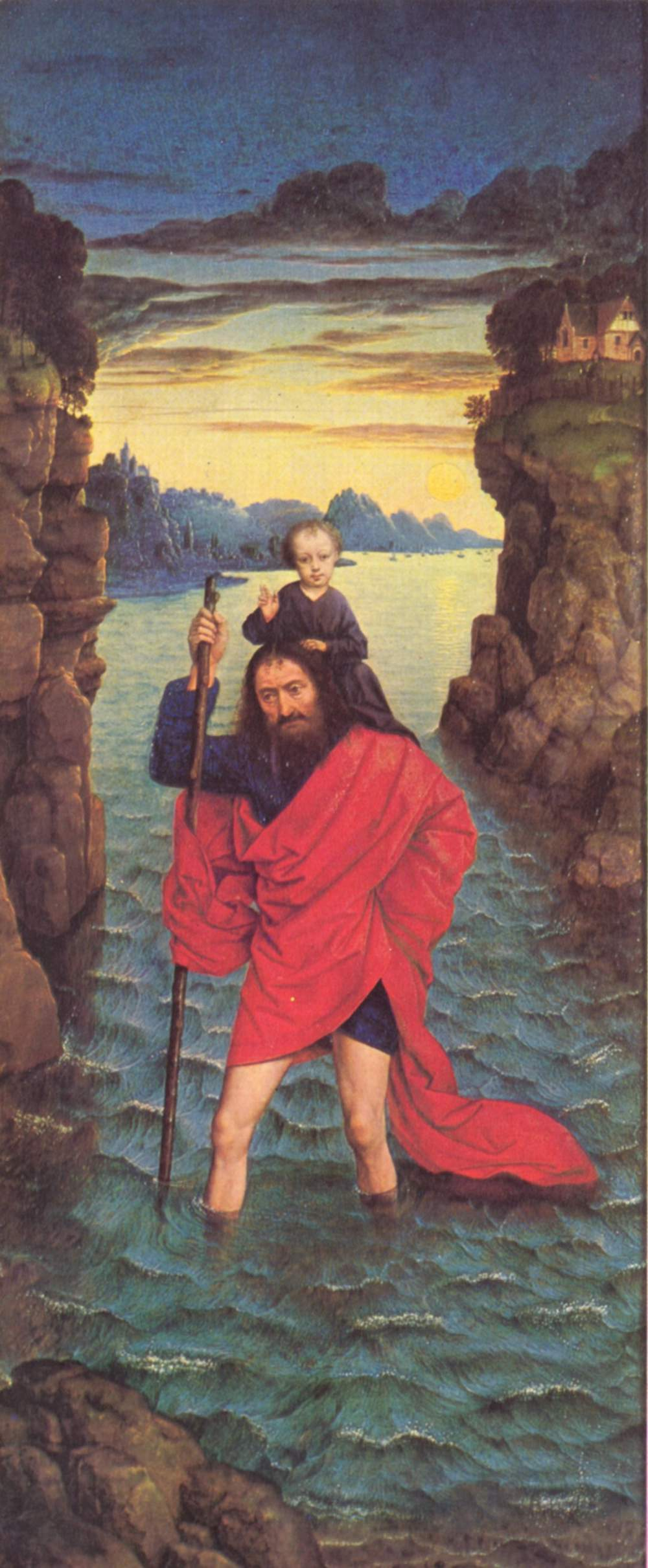 The right wing of The Pearl of Brabant: Saint Christopher, 1468