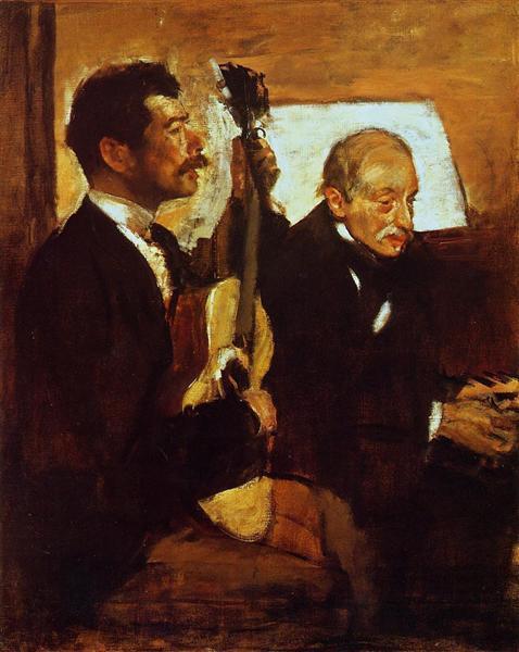 Degas' Father Listening to Lorenzo Pagans Playing the Guitar, 1869 - 1870 - Edgar Degas