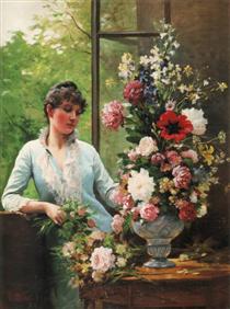 Preparing the flower arrangement - Edouard Debat-Ponsan