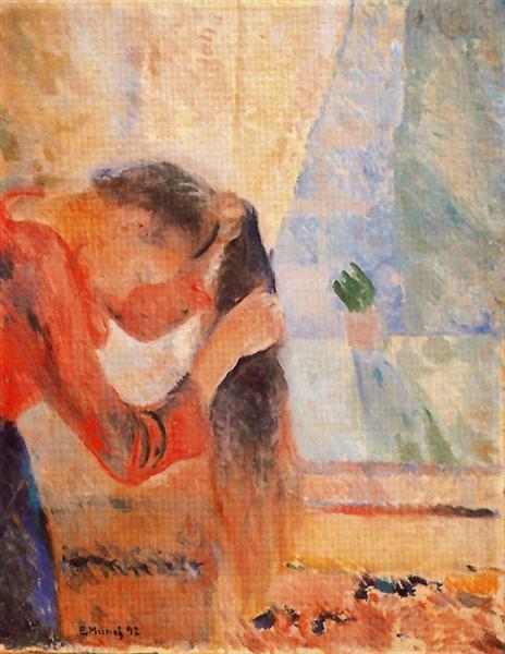 Girl Combing Her Hair, 1892 - Edvard Munch