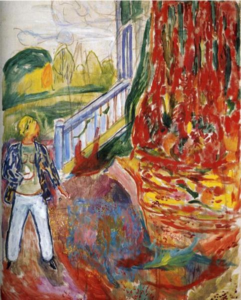 Model in Front of the Verandah, 1942 - Edvard Munch