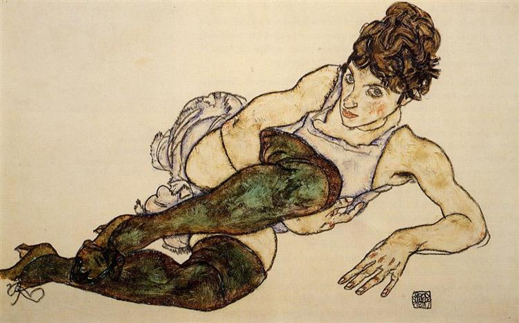 Reclining Woman with Green Stockings (Adele Harms), 1917 - Эгон Шиле