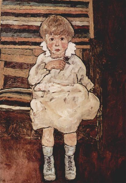 Seated child, 1918 - Egon Schiele