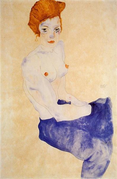 Seated Girl with Bare Torso and Light Blue Skirt, 1911 - Egon Schiele