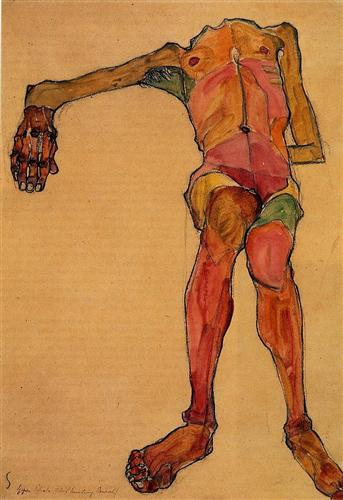 Seated Male Nude, Right Hand Outstretched - Egon Schiele