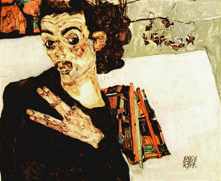 Self-Portrait with Black Vase and Spread Fingers, 1911 - Egon Schiele