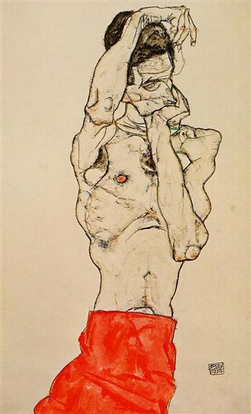 Standing Male Nude with a Red Loincloth, 1914 - Egon Schiele