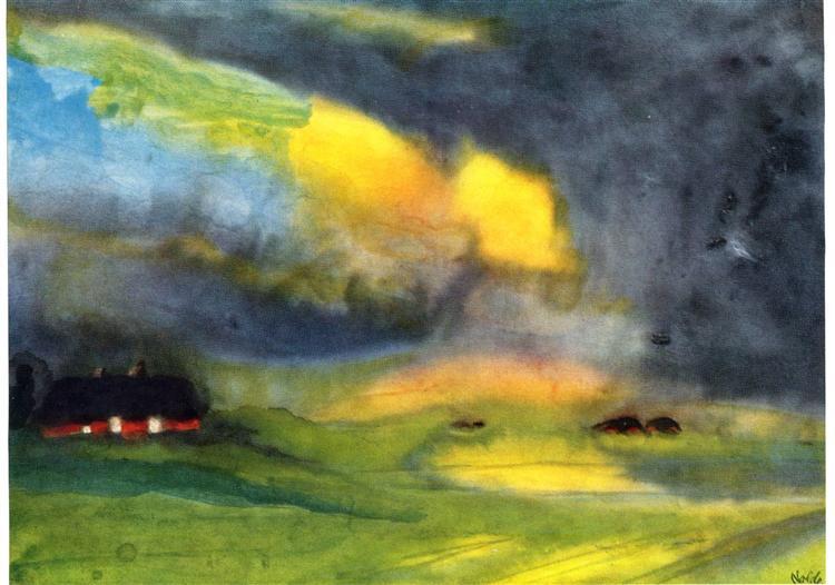 Colored sky above the Marais, c.1940 - Emil Nolde