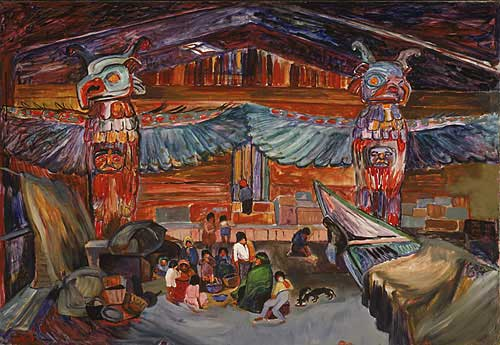 Indian House Interior with Totems, 1912 - Emily Carr