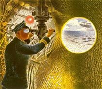 Commander of a submarine looking through a periscope - Eric Ravilious