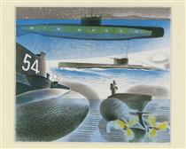 Different aspects of submarines - Eric Ravilious