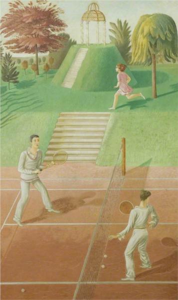 Tennis (triptych, centre panel), 1930 - Eric Ravilious