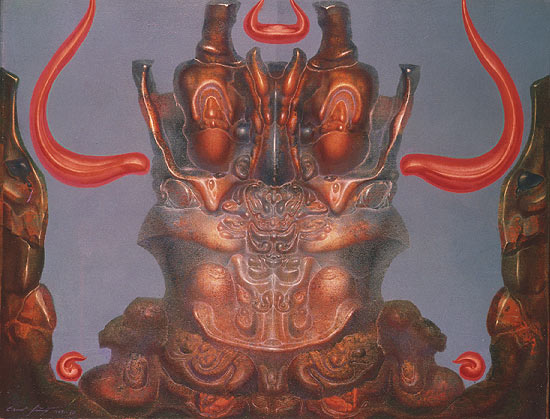 CHERUB EN FACE WITH ORANGE-COLORED HORNS OF FLAMES, 1969 - Ernst Fuchs