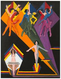 Dancing Girls in Colourful Rays - Ernst Ludwig Kirchner