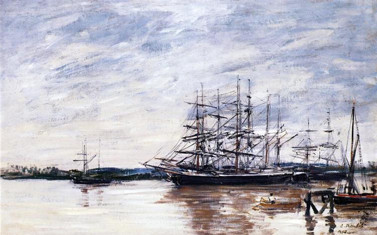 Three Masted Ship in Port, Bordeaux, c.1875 - Eugene Boudin
