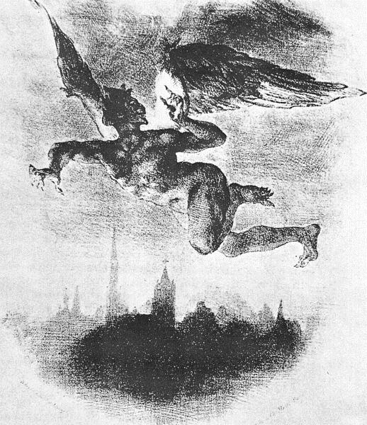 Mephistopheles Over Wittenberg (From Goethe's Faust), 1839 - Eugene Delacroix
