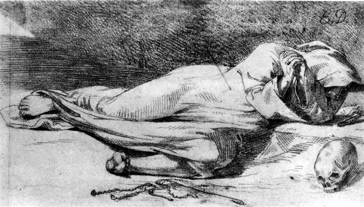 Monk at Prayer, 1821 - Eugene Delacroix