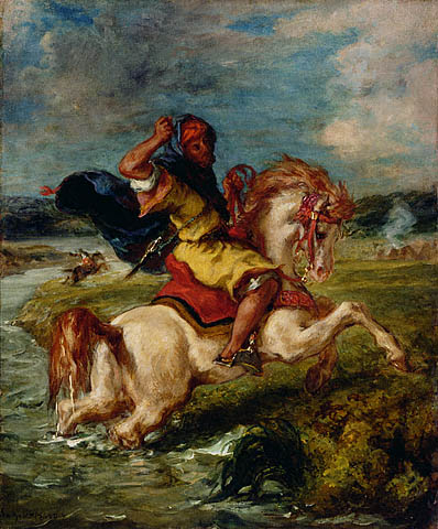 Moroccan Horseman Crossing a Ford, 1850 - Eugene Delacroix