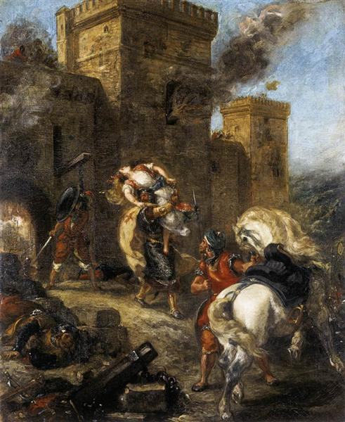 Rebecca Kidnapped by the Templar, Sir Brian de Bois-Guilbert - Eugene Delacroix