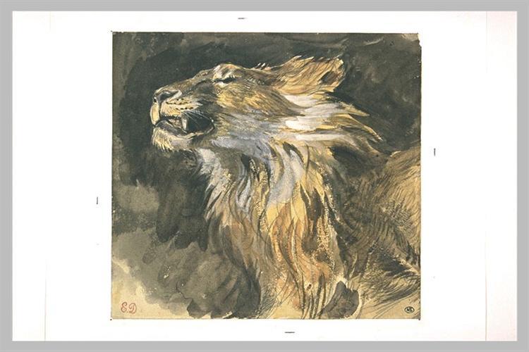 Roaring lion's head, c.1833 - c.1835 - Eugene Delacroix