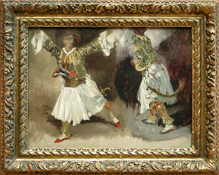 Two Greek warriors dancing (Study costumes Souliotes), 1824 - 1825 - Eugene Delacroix