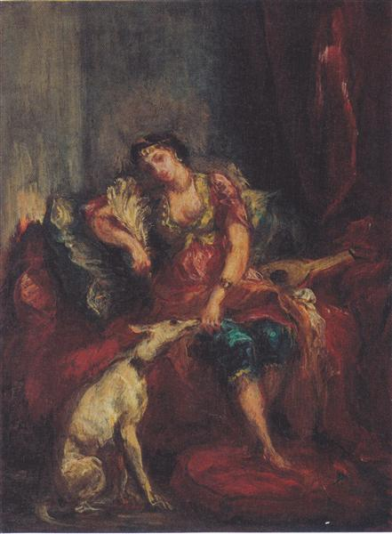 Woman from Algiers with Windhund, 1854 - Eugene Delacroix