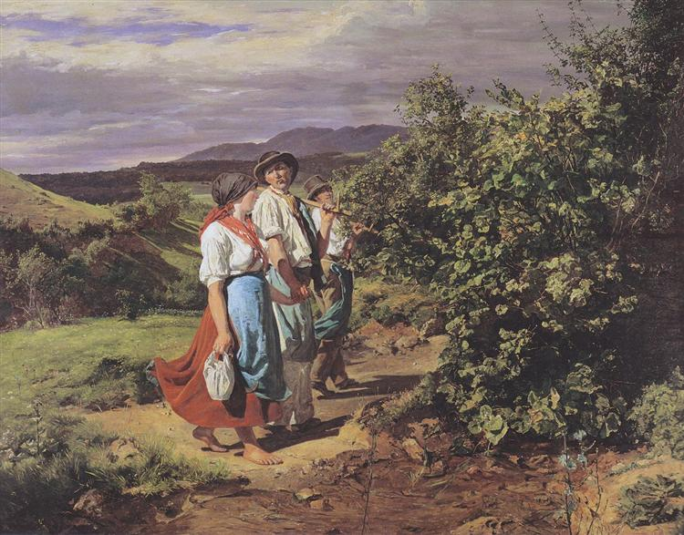 The lovers at a crossroads. Return from work, 1861 - Ferdinand Georg Waldmüller