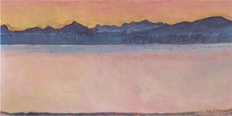 Lake Geneva with Mont Blanc at dawn, 1918 - Ferdinand Hodler