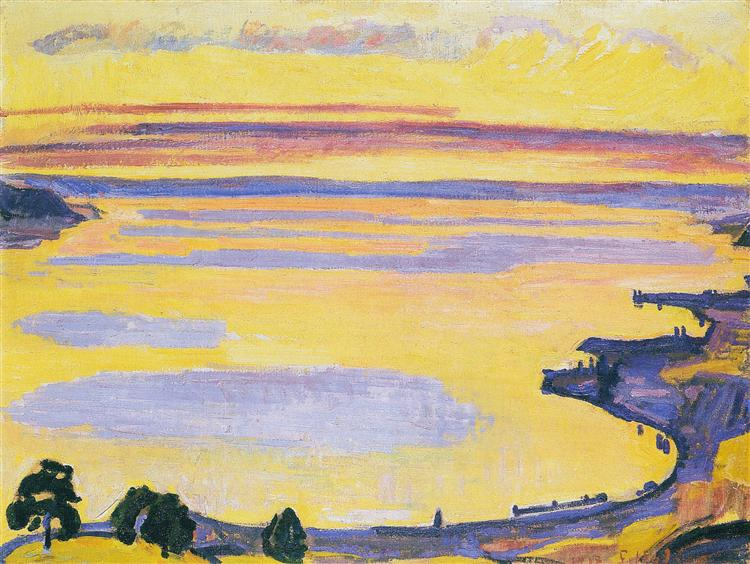 Sunset on Lake Geneva from the Caux, 1917 - Ferdinand Hodler