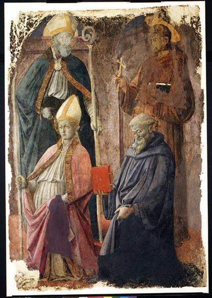Saints Augustin and Francis, a Bishop Saint, and Saint Benedict, c.1452 - c.1464 - Filippo Lippi