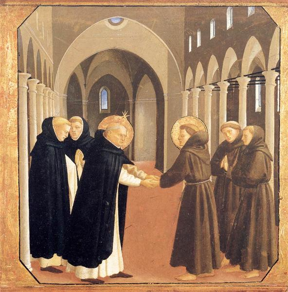 The Meeting of Sts. Dominic and Francis of Assisi, 1434-1435 - Fra Angelico