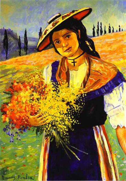 Young Girl with Flowers, c.1941 - c.1942 - Francis Picabia
