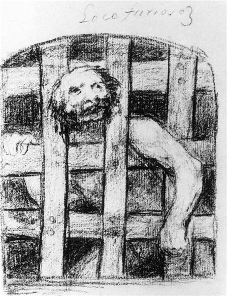 Lunatic behind Bars, 1824 - 1828 - Francisco Goya