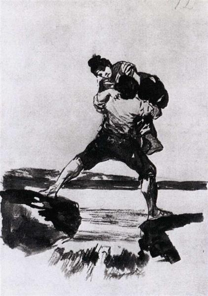 Peasant Carrying a Woman, c.1812 - c.1823 - Francisco Goya