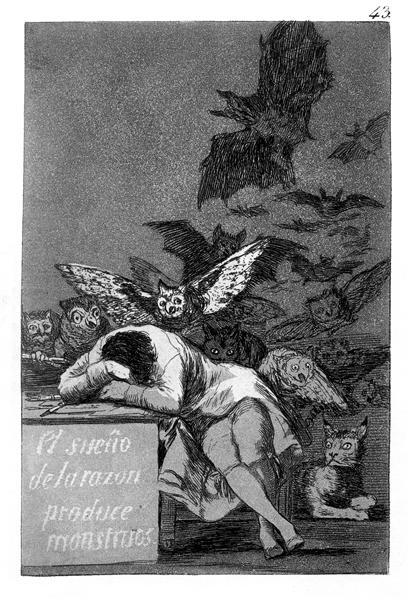 The sleep of reason produces monsters, 1799 - Франсіско-Хосе де Гойя