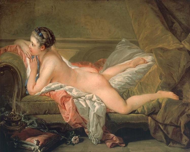Portrait of Marie-Louis O'Murphy (Nude on a Sofa) - Boucher Francois