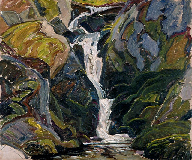 Waterfalls on the Way into Nellie Lake - Franklin Carmichael