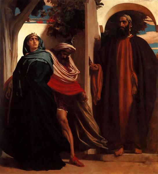 Jezebel and Ahab Met by Elijah, c.1862 - Frederic Leighton