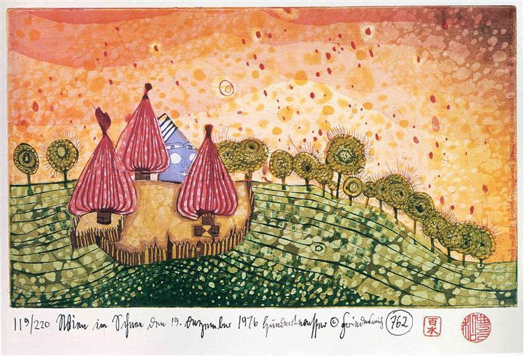762 Hide Under the Meadow It Begins to Rain, 1976 - Friedensreich Hundertwasser