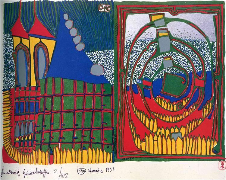 540 House and Spiral in the Rain, 1962 - Friedensreich Hundertwasser