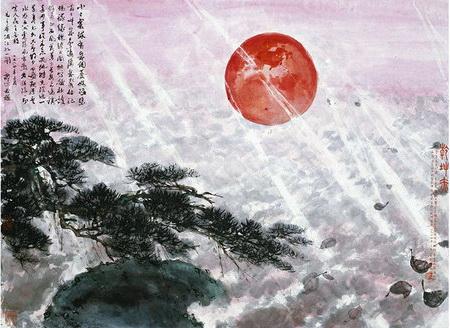 Heaven and Earth Glow Red, 1964 - Fu Baoshi