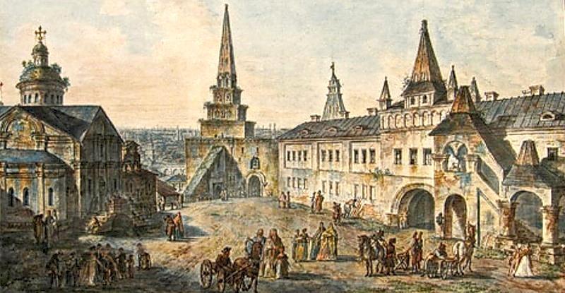 Church of St. John the Baptist, Borovitskaya tower and Stablings prikaz (department) in the Kremlin, 1805