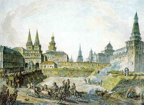 View of Voskresenskiye (Resurrection) Gates of Kitay gorod, Nikolskye Gate of Kremlin and Neglinny bridge.